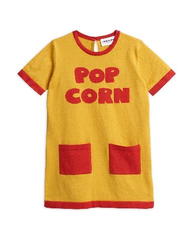 Knitted pop corn dress-Yellow