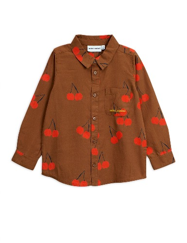 Cherry woven shirt-brown