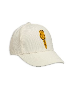 Parrot embroidery cap-Offwhite