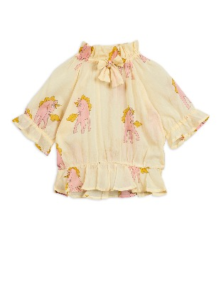 unicorns woven bow blouse - yellow