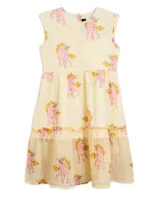 unicorn woven long  dress - yellow