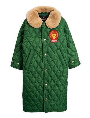 diamond quilted coat - dark green